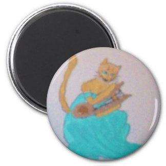 A Feline Harpist Resting 2 Inch Round Magnet
