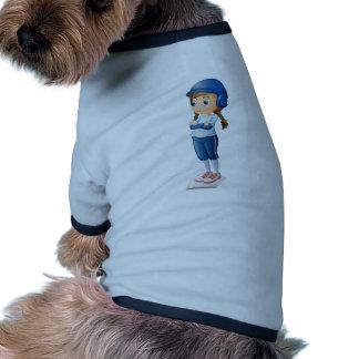 A female baseball player wearing a blue uniform dog tee shirt