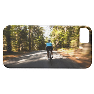 A female cyclist quickly rides on a small narrow iPhone SE/5/5s case