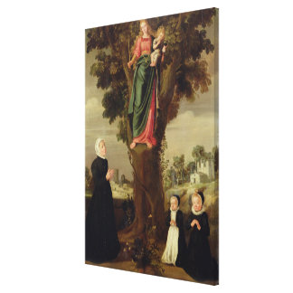 A Female Donor with her Two Daughters Kneeling in Stretched Canvas Prints