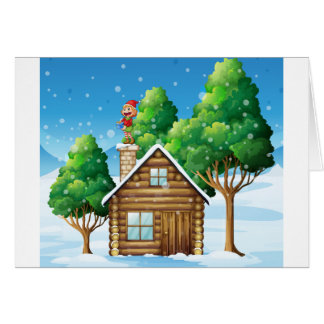 A female elf standing above the house card
