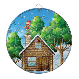 A female elf standing above the house dartboard