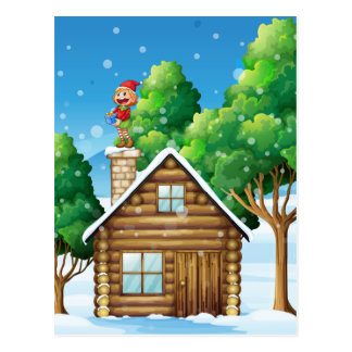 A female elf standing above the house postcard