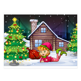 A female Santa elf near the christmas tree Postcard