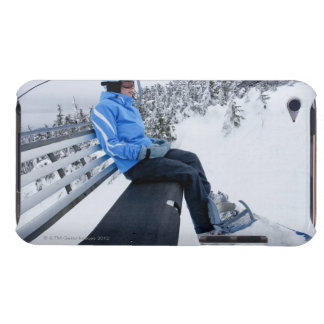 A female snowboarder rides the chair lift in New iPod Touch Case