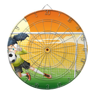 A female soccer player catching the ball dartboards