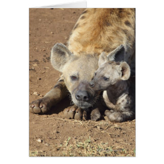 A female Spotted Hyena and her cub, Kruger Greeting Card