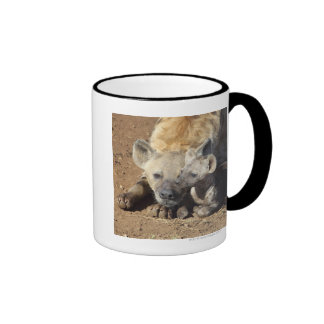 A female Spotted Hyena and her cub, Kruger Ringer Coffee Mug