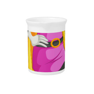 A female superhero with a cape beverage pitcher