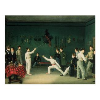 A Fencing Scene, 1827 Postcard