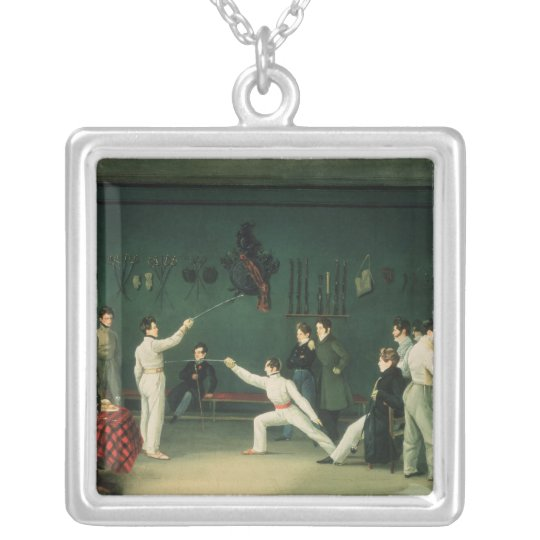 A Fencing Scene, 1827 Silver Plated Necklace