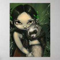 A Ferret and his Fairy ART PRINT fantasy ferrets