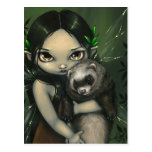 """""""A Ferret and His Fairy"""" Postcard"""