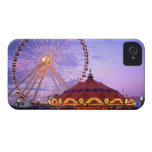 A ferris wheel and carousel at the Navy Pier in iPhone 4 Case-Mate Case