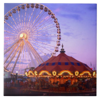 A ferris wheel and carousel at the Navy Pier in Large Square Tile