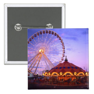 A ferris wheel and carousel at the Navy Pier in Pinback Button