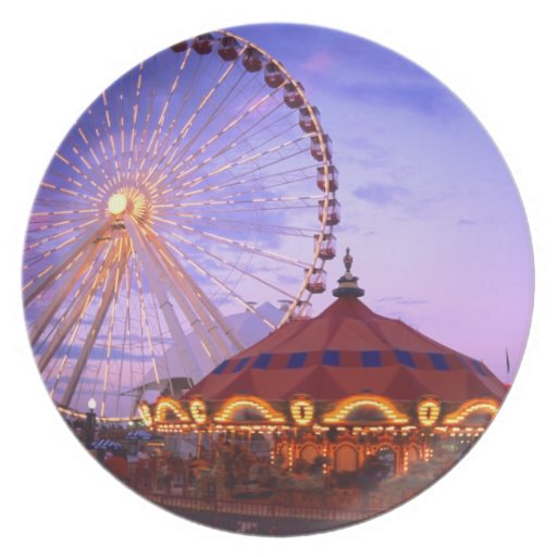 A ferris wheel and carousel at the Navy Pier in Party Plates