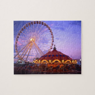 A ferris wheel and carousel at the Navy Pier in Jigsaw Puzzles