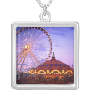 A ferris wheel and carousel at the Navy Pier in Square Pendant Necklace