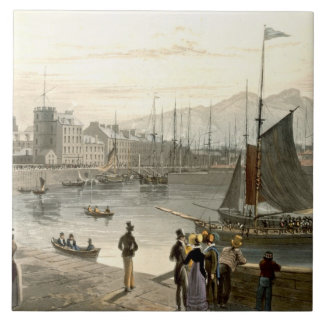 A ferry arriving at Leith, from 'A Voyage Around G Ceramic Tile