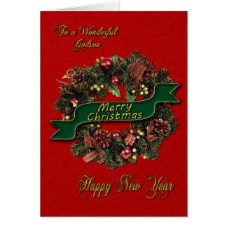 A festive Christmas Wreath for your Godson Card