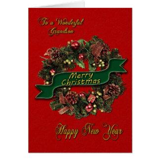 A festive Christmas Wreath for your grandson Cards