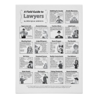 A Field Guide to Lawyers (18x24 inch) Poster
