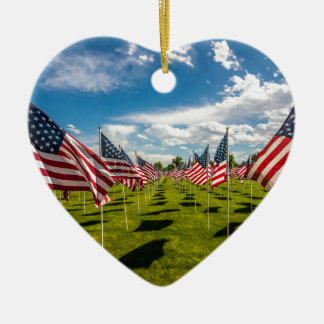 A field of American Flags on V-day Remembrance Ceramic Ornament
