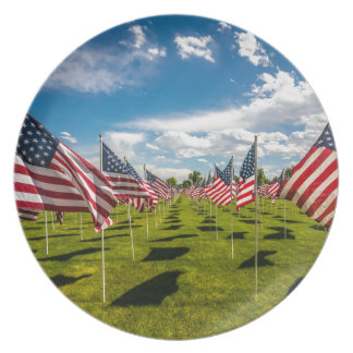 A field of American Flags on V-day Remembrance Melamine Plate