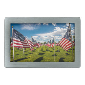 A field of American Flags on V-day Remembrance Rectangular Belt Buckle