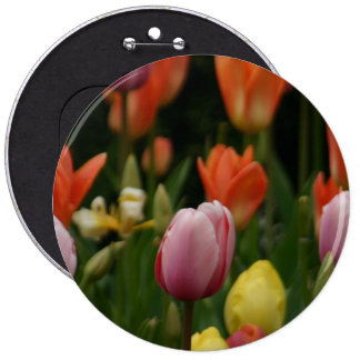 A field of peonies, cyclamens and tulips flowers pinback buttons