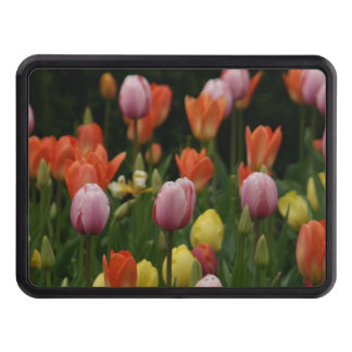 A field of peonies, cyclamens and tulips flowers trailer hitch cover