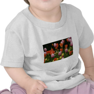A field of peonies cyclamens and tulips flowers tshirt