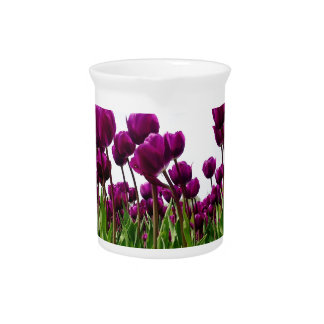 A Field of Violet Tulips Beverage Pitcher