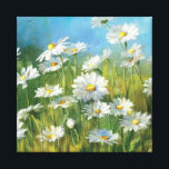 """A Field of White Daisies Canvas Print<br><div class=""""desc"""">&#169; Danhui Nai / Wild Apple.  An image of a field of white daisies and tall grass. A clear blue sky can be viewed in the background.</div>"""