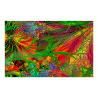 A Field of Wild Flowers Psychedelic Poster