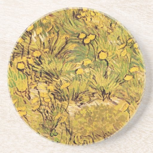 A Field of Yellow Flowers by Vincent van Gogh Coasters