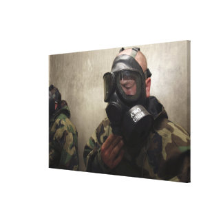 A field radio operator clears CS gas Canvas Print