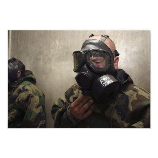 A field radio operator clears CS gas Photo Print