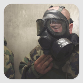 A field radio operator clears CS gas Square Stickers