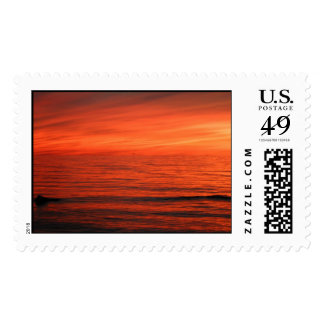 A fiery sunset on Lake Erie Postage
