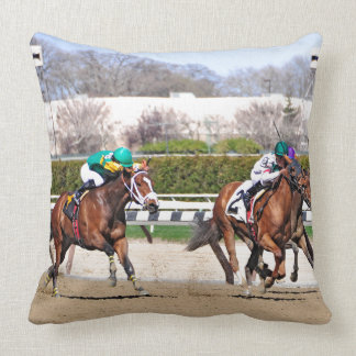 A Fight to the Finish Line Throw Pillows