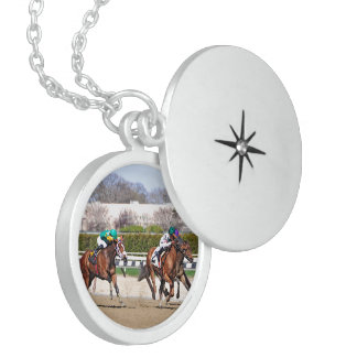 A Fight to the Finish Line Round Locket Necklace