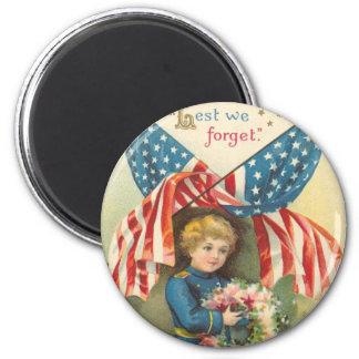 A fin de olvidemos Memorial Day Imán Redondo 5 Cm