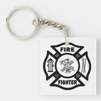 A Firefighter Double-Sided Square Acrylic Keychain