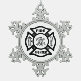 A Firefighter Snowflake Pewter Christmas Ornament