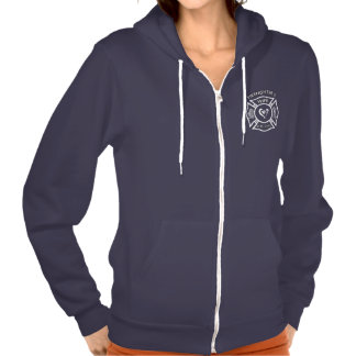 A Firefighters Wife Maltese Heart Hooded Pullover