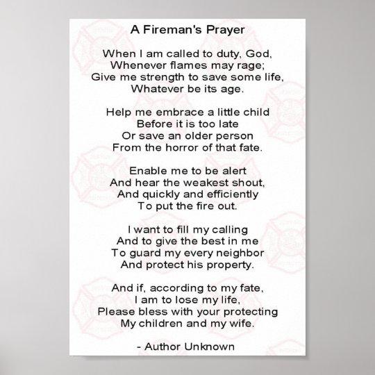 A Firemans Prayer Poster Zazzle Com