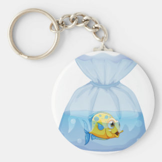 A fish inside the plastic pouch key chain