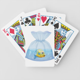 A fish inside the plastic pouch card decks